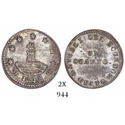 Quito, Ecuador, 1/4 real, 1843MV-A, rare.