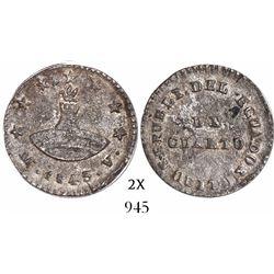 Quito, Ecuador, 1/4 real, 1843MV.