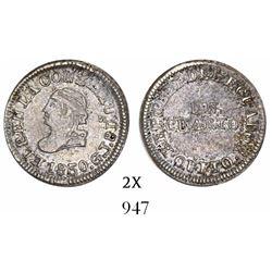 Quito, Ecuador, 1/4 real, 1850GJ, rare.