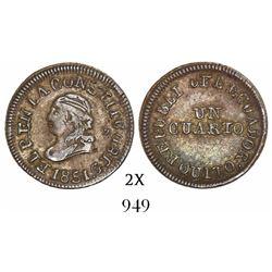 Quito, Ecuador, 1/4 real, 1851GJ.