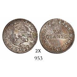Quito, Ecuador, 1/4 real, 1852GJ.