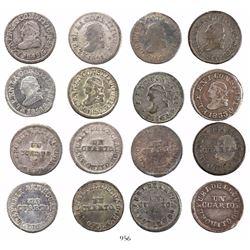 Lot of 8 Quito, Ecuador, 1/4R, various dates: 1849GJ, 1851GJ (3), 1852GJ (2) and 1855GJ (2).