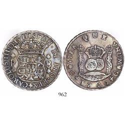 Guatemala, pillar 8 reales, Charles III, 1760P, rare.