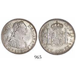 Guatemala, bust 2 reales, Charles IV, 1790M.