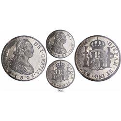 Guatemala, bust 2 reales, Charles IV, 1801M, encapsulated NGC AU 58.