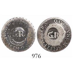 "Jamaica, 10 pence, ""GR"" counterstamp on a Lima, Peru, pillar 1 real of 1757JM."