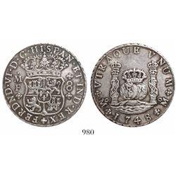 Mexico City, Mexico, pillar 8 reales, Ferdinand VI, 1748MF.