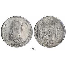 Durango, Mexico, bust 8 reales, Ferdinand VII, 1822CG, encapsulated NGC XF 45.