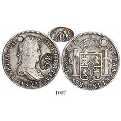 "Mexico, oval ""YRNO""(?) countermark on a Potosi, Bolivia, bust 8 reales, Ferdinand VII, 1823PJ, very"