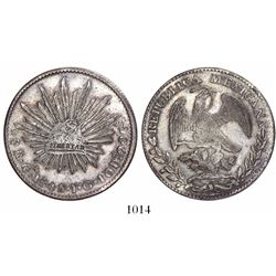 Guadalajara, Mexico, cap-and-rays 8 reales, 1845JG, rare (key date).