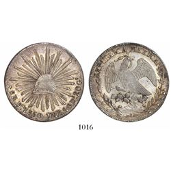 Durango, Mexico, cap-and-rays 8 reales, 1850JMR.