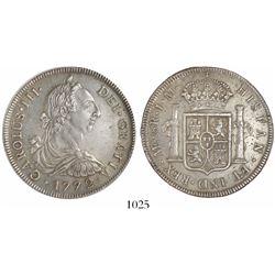 Lima, Peru, bust 8 reales, Charles III, 1772JM.