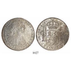 Lima, Peru, bust 8 reales, Charles IV, 1805JP.