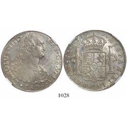 Lima, Peru, bust 8 reales, Charles IV, 1808JP, encapsulated NGC AU 58.