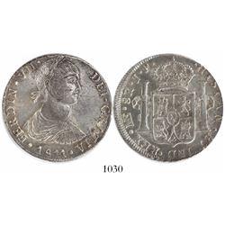 "Lima, Peru, bust 8 reales, Ferdinand VII transitional (""imaginary"" bust), 1811JP."