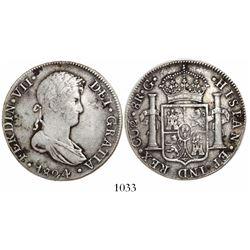 Cuzco, Peru, bust 8 reales, Ferdinand VII, 1824G.