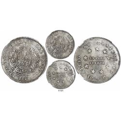 Montevideo, Uruguay, 1 peso fuerte, 1844, coin rotation, encapsulated NGC AU 55.