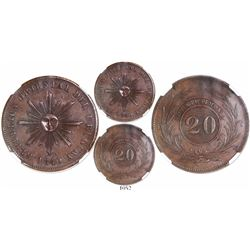 Uruguay, copper 20 centesimos, 1840, encapsulated NGC MS 62 BN.