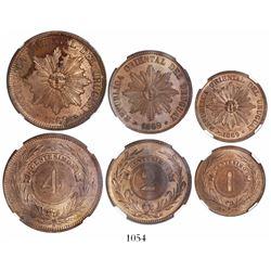 Lot of 3 Uruguay (struck at Heaton in Birmingham) copper minors: 1, 2 and 4 centesimos, 1869-H, enca