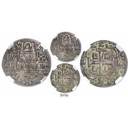 "Caracas, Venezuela, ""imitation cob"" 2 reales, ""184"" date (early 1800s), encapsulated NGC XF 45."