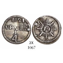 Caracas, Venezuela, 1/4 real, 1821, variety with 8 medium rays and 24 small rays (all neat), very ra