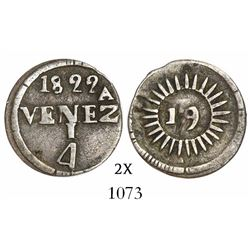 Caracas, Venezuela, 1/4 real, 1822, variety with 27 medium rays (neat), very rare.