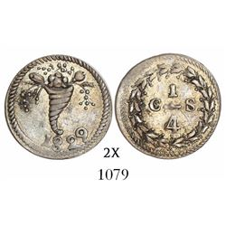 Caracas, Venezuela, 1/4 real, 1829, variety with cornucopia above 8.