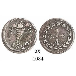 Caracas, Venezuela, 1/4 real, 1829, variety with cornucopia above 8.