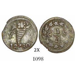 Caracas, Venezuela, 1/4 real, 1830, variety with tail of cornucopia between 8 and 3.