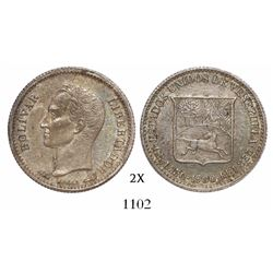 Venezuela (struck in Paris), 25 centimos (1/4 bolivar), 1900.