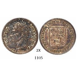 Venezuela (struck in Paris), 25 centimos (1/4 bolivar), 1912.