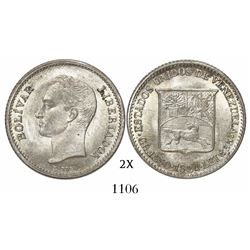 Venezuela (struck in Philadelphia), 25 centimos (1/4 bolivar), 1921, low 2.