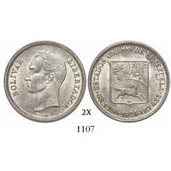 Venezuela (struck in Philadelphia), 25 centimos (1/4 bolivar), 1924.
