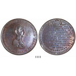 Potosi, Bolivia, large copper medal, Ferdinand VII, 1811, Goyeneche.