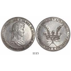 Potosi, Bolivia, silver 8R-sized award medal, Ferdinand VII, 1816, rare.