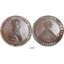 Potosi, Bolivia, large copper medal, 1825, Bolivar, rare.