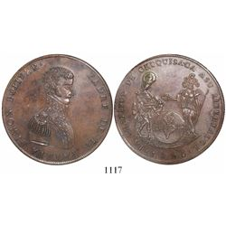 Chuquisaca (Sucre), Bolivia, large copper medal, 1825, Bolivar, encapsulated NGC MS 62, rare.