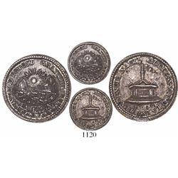Potosi, Bolivia, 1 sol-sized silver medal, 1841, plain-edge piedfort, dedication to the President fr