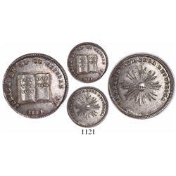 Potosi, Bolivia, silver sol-sized medal, 1851, Constitution, plain-edge piedfort (rare), ex-Derman.