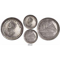 Potosi, Bolivia, silver sol-sized medal, 1852, Belzu, oversized plain-edge piedfort (rare), ex-Derma