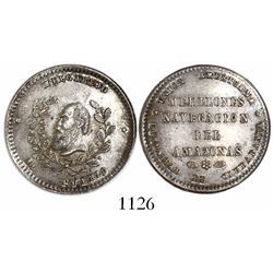 Potosi, Bolivia, silver 1/4 melgarejo-sized medal, (no date, struck 1868), navigation on the Amazon