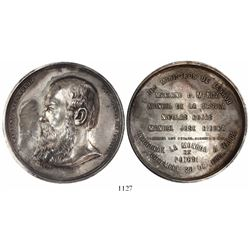 Bolivia, large and thick silver medal, 1869, Melgarejo.