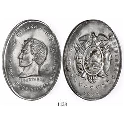 Bolivia, silver cliché (trial) medal, 1883, Bolivar / First Vice President, very rare (possibly uniq