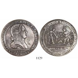 Santiago, Chile, 8R-sized silver proclamation medal, Charles IV, 1789.