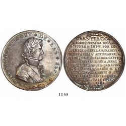 Santiago, Chile, large silver medal, Ferdinand VII, 1814, reconquest of Santiago, rare.