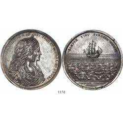 Great Britain, large silver medal, James II, salvage of the Concepción by William Phips in 1687, ex-