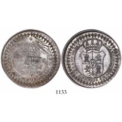 Real de Catorce, Mexico, silver proclamation medal, Charles IV, (1789), rare.