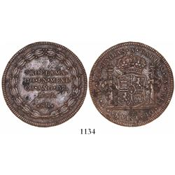 Mexico City, Mexico, copper 8R-sized proclamation medal, Charles IV, 1789, rare.