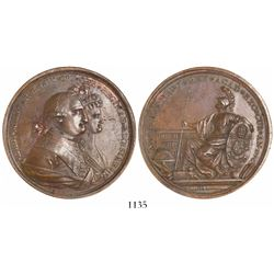 Mexico City, Mexico, large copper proclamation medal, 1790, Charles IV and Queen Maria Luisa, Univer