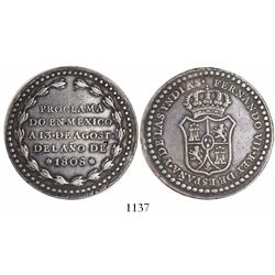 Mexico, 8R-sized silver proclamation medal, Ferdinand VII, 1808.
